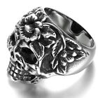 Stainless Steel Men's Ring , Color Silver, Vintage, Biker, Rose, Skull KR659