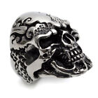 Stainless Steel Cool Black & Silver Skull Mens Ring Size 8 9 10 11 12 R366