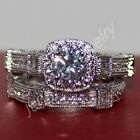 Handcrafted Round White Sapphire 2-in-1 Engagement Band Ring Set Not Tarnish