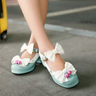 Cute Women's Lolita Bowknot Ankle Strap Block Heel Cosplay Sweet Shoes Plus Size