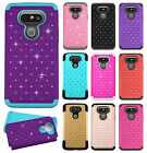 For LG G5 HYBRID IMPACT Hard Dazzling Diamond Case Phone Cover + Screen Guard