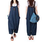 Womens Blue Jeans Jumpsuit Harem Pants Fashion Overalls Loose Suspender Trousers