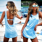 2016 Summer Women Backless Holiday Club Party Long Vest Tops Blouse Mini Dress