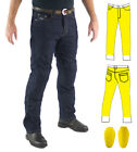 Mens Raw Blue Motorcycle Jeans Full Protective Layer +CE Armour Finn Moto