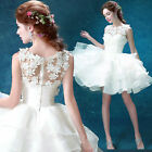 White Flowers Short Evening Formal Party Prom Gown Bridesmaid Wedding Dres  L381