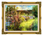The Seine at Chatou Pierre-Auguste Renoir Framed Canvas Art Print Painting Repro