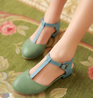 Vintage Preppy Womens Contrast Color Cuban Heel T-Strap Sandals Shoes