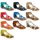 Breckelle's CE16 Women's Gladiator Style Caged Ankle Strap Flat Sandals