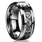 Fashion Silver Celtic Dragon Titanium Stainless Steel Men's Wedding Band Rings image