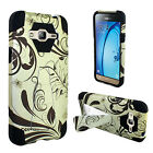 For Samsung Galaxy Amp Prime Turbo Layer HYBRID KICKSTAND Rubber Case Cover