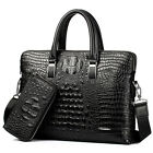 "Men's Leather Crocodile Handbag Briefcases Business 14"" Laptop Shoulder Bags NEW"