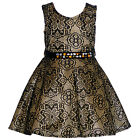 Little Girls Gold Black Floral Textured Pattern Bejeweled Christmas Dress 4-6X