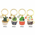1 Pc Metal Succulent Plants Cactus Potted Keychain Keyring Keyfob Lovely Gift