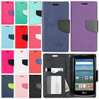 For LG Optimus Zone 3 Leather 2 Tone Wallet Case Pouch Flip Phone Cover