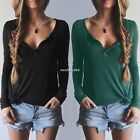 Women Pullover Button Blouse Knitwear Shirt Long Sleeve Sweater V-Neck Casual