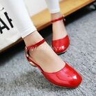 Sweet Womens Patent Leather Pumps Shoes Ankle Strap Pure Color Roman Style Shoes