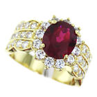 Red Ruby Oval Cut 1ct Multiple CZ Stones Gold EP Ladies Ring New