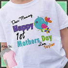 Happy 1st Mothers Day Shirt with bird on branch - Personalized Mothers Day Shirt