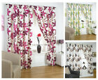 Izabelle Floral Pencil Pleat Curtains, Fully Lined Ready Made Curtain Pair, RZK