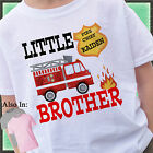FIRETRUCK LITTLE BROTHER SHIRT PERSONALIZED WITH NAME FIREMAN FIRE TRUCK