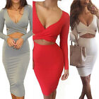 Fashion Midi Pencil Club Bandage Bodycon Dress Long Sleeve Elastic Party Dress