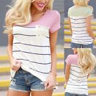 Fashion Sexy Women Scoop Neck Striped Short Sleeve Top Casual T- Shirt Blouse EW