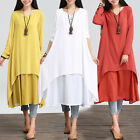 Vogue Casual Cotton Linen Long Sleeve A-line Shirt Loose V-neck Layer Long Dress