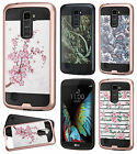 For LG K10 Premium Brushed Metal HYBRID Rubber Case Phone Cover + Screen Guard