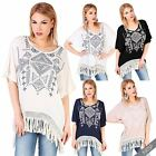 Womens Fringed Festival Kaftan Top Loose Blouse Beach Bikini Cover Summer Kimono