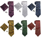 Landisun US Location Paisley Pattern Mens Silk Neck Tie Set: Tie+Hanky+Cufflinks