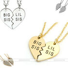 "Silver Gold Love Heart Pendant 20""L Chain Necklace Sister Family Jewelry 2Pc/Set"