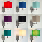 Plug In Easy Fit Square Single Fabric Wall Sconce Light Lamps Bedside Lights