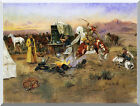 Western Bronc in Cow Camp by Charles M Russell Vintage Repro Stretched Art Print