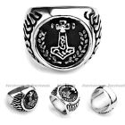 1x Stainless Steel Mens RoundThunder Thor's Hammer Finger Ring US9-13 HOT Gift