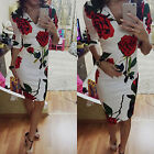 New Sexy Lady Half Sleeve V-neck Rose Printed Bodycon Slim Cocktail Party Dress