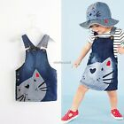 Baby Girls Dark Blue Denim Animal Splice Strap Suspender Hot Dress 2-9years