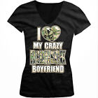 I Love My Crazy Redneck Boyfriend Camo Country Southern Juniors V-neck T-shirt