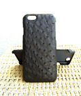 CAPIS Black Genuine Ostrich Skin Leather Case Cover for iPhone 7 / 7 Plus / 6 6s