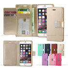 Double Card Slot Pocket Flip Leather Wallet Case Cover For iPhone Galaxy LG