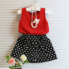 Toddler Kids Baby Girls Summer Outfits Clothes T-shirt Tops+Skirt Dress 2PCS/Set