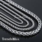 "3/3.5/4/6/8mm Mens Boys Stainless Steel Wheat Braided Necklace Chain 18""-36''"