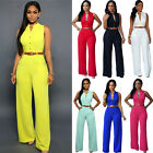 Women Summer Belted Sleeveless Jumpsuit Playsuit Romper Wide Leg Long Trousers