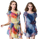 Summer New Elegant Short Sleeved Chiffon Shirt Dress Women Fashion Printed