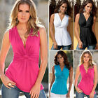 Womens Fashion Summer V-Neck Vest Sleeveless Blouse Casual Tank Tee Tops T-Shirt