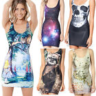 Women's 3D Galaxy Alice Digital Printed Sleeveless One-Piece Tank Gothic Dresses