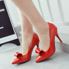Womens Fashion High Stilettp Heels Pointy Toe Bow-Knot Slip On Party Date Shoes