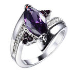 Size 6-9 Marquise Cut Amethyst Wedding Ring 10KT White Gold Filled Party Jewelry