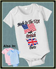 MADE IN USA WITH BRITISH UK PARTS BODYSUIT FLAG SHIRT PROUD TO BE AMERICAN