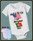 MADE IN USA WITH PORTUGUESE PORTUGAL PARTS BODYSUIT FLAG SHIRT PROUD TO BE