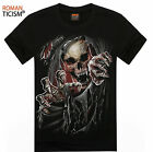 Men's Cotton Short Sleeve T-shirt Skeleton 3D Printing Tops Tee Biker MMA UFC